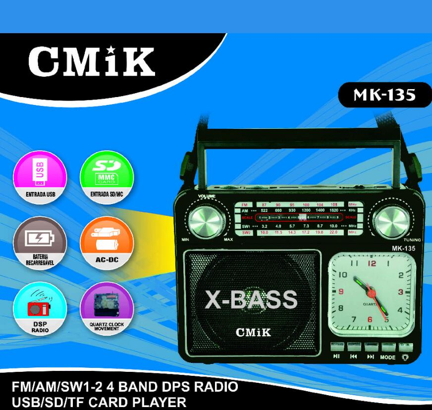 AM FM Multiband SW Medium Wave Shortwave Radio Retro Clock Card Speaker Flashlight Bluetooth Wireless Speaker enlarge