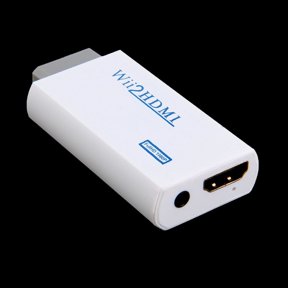 White Plastic Wii to HDMI Wii2HDMI Adapter Converter Full HD 1080P Output Upscaling 3.5mm Audio Video