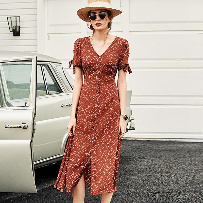 100% Silk Polka Dot Dress Women V-Neck Button Short Sleeve Printed Simple Summer High Quality Silk Dress Office Style Fashion