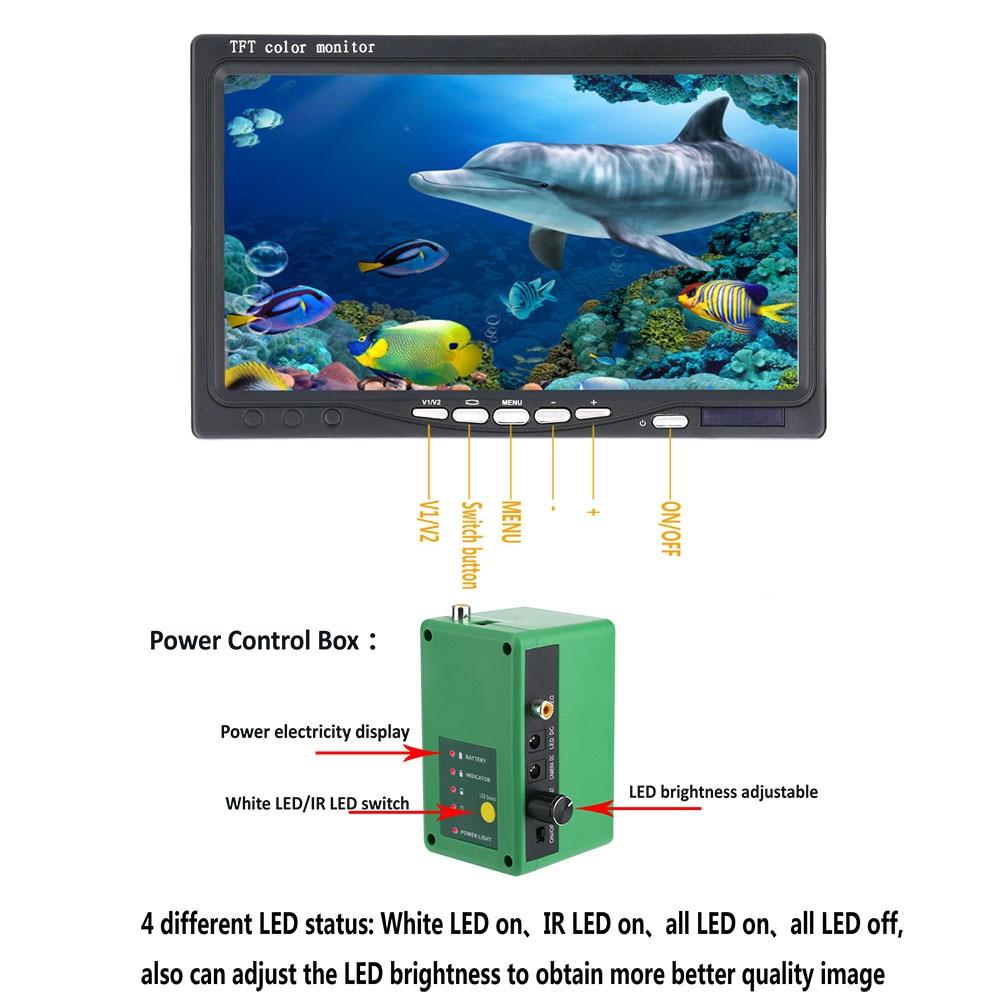 GAMWATER HD 7 inch Fish Finder Underwater Fishing Camera 1080P 15M/30M Camera For Ice Fishing 15pcs White LEDs+15pcs IR LED enlarge