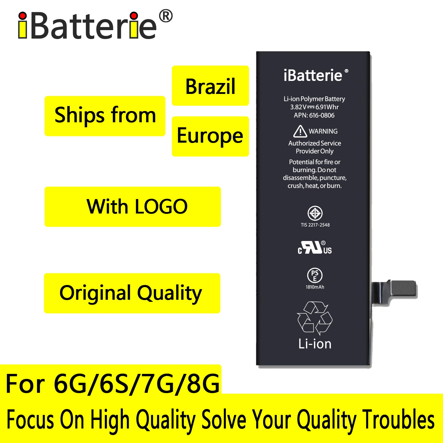 10pcs/lot iBatterie AAA Quality Battery For Apple iPhone 6S 6 7 8 Plus SE 6Plus 7Plus Replacement Bateria For iPhone 6S 7G enlarge