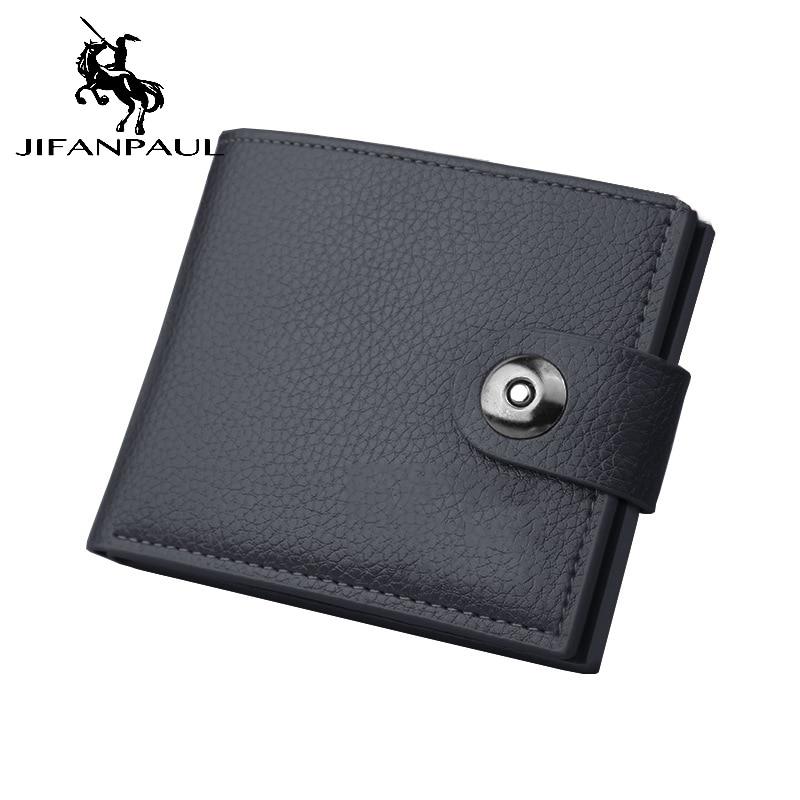 Новый маленький кошелек JIFANPAUL, модный мужской кошелек, кожаный мужской короткий кошелек, держатель для карт, однотонный кожаный кошелек