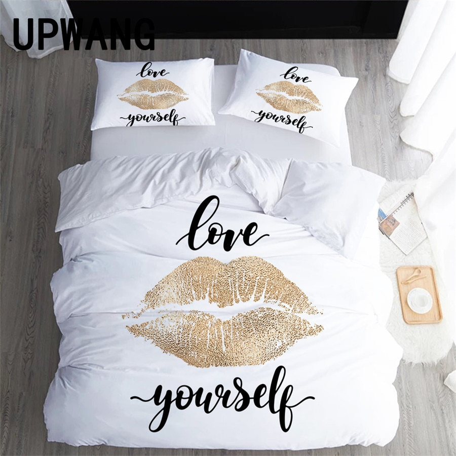 UPWANG 3D Bedding Set Valentine's Day Love Printed Duvet/Quilt Cover Set Bedcloth with Pillowcase Bed Set Home Textiles