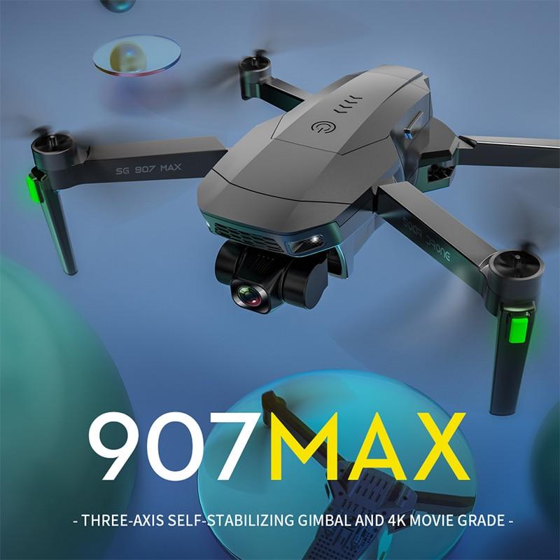طائرة بدون طيار SG907 Max ذات 3 محاور EIS 4K HD مزودة بكاميرا جي بي إس 5G وواي فاي FPV بروفيسيونا RC مروحية بدون فرشاة قابلة للطي تدعم بطاقة TF كوادكوبتر