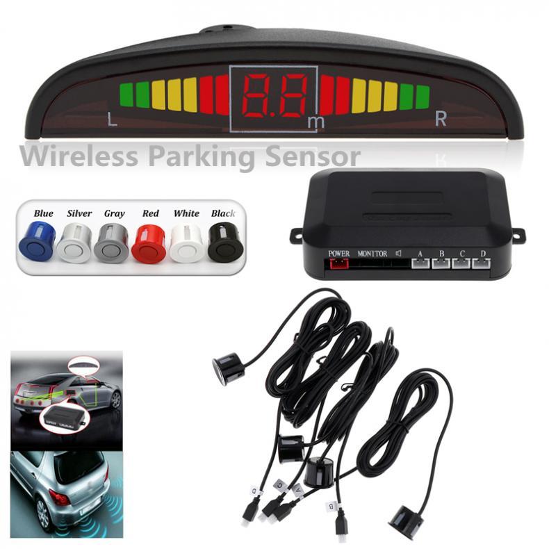 ワイヤレス自動カーパークトロニック led 駐車センサーシステムの逆バックアップモニターレーダー検出器と 4 センサー音ブザー警報