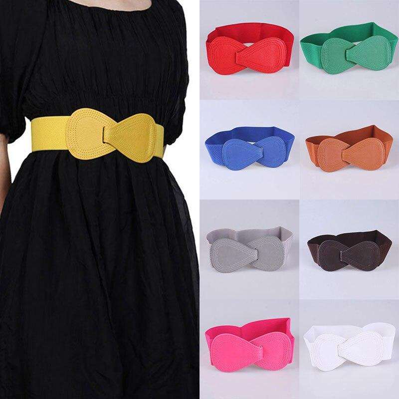 2020 Fashion Women Belts PU leather Bowknot Belt Decoration Soft Waistband Bow Elastic waist Wide Waist Cummerbunds