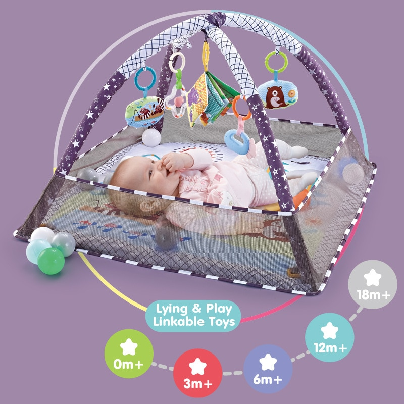 Play Mat Baby Carpet Puzzle Mat With Balls Educational Rack Toys Infant Fitness Crawling Mat Gift For Kids Gym