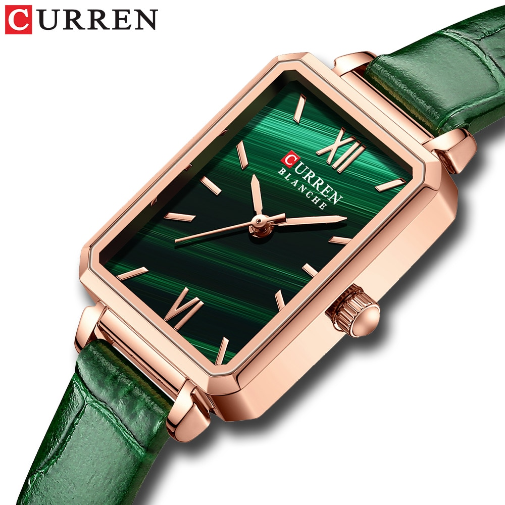 CURREN Women Quartz Watches Leather Fashion Charm Rectangular Thin Wristwatches for Ladies Clock Gre