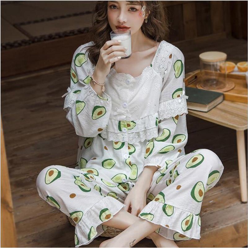 Nuevo conjunto de Pijamas de algodón de verano para mujer, conjunto de Pijamas de manga larga, Pijamas informales para el hogar X111