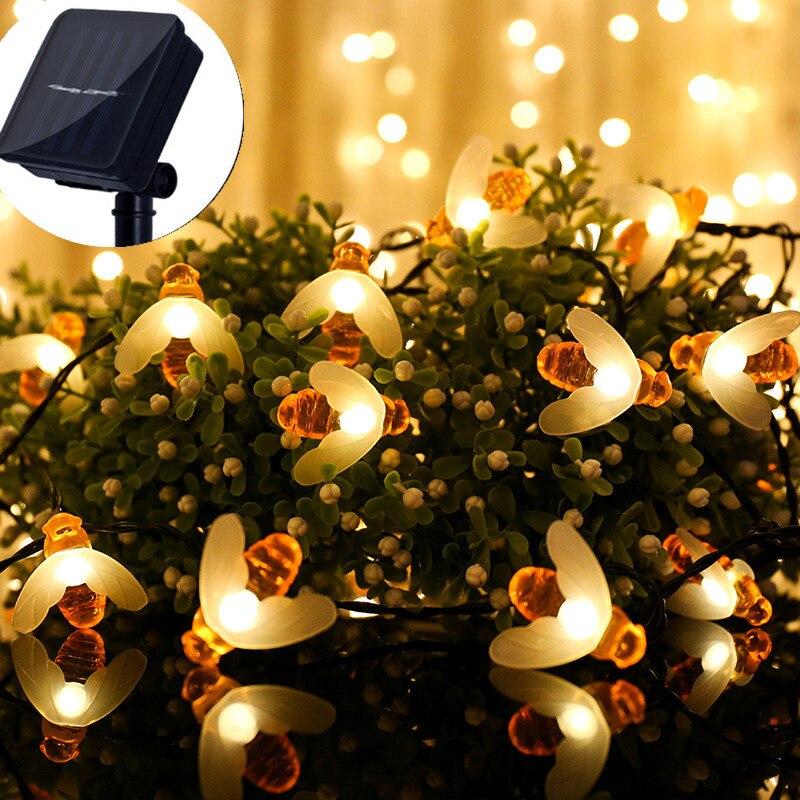 Festoon-guirnalda de luces led con energía solar para exteriores, guirnalda impermeable con...