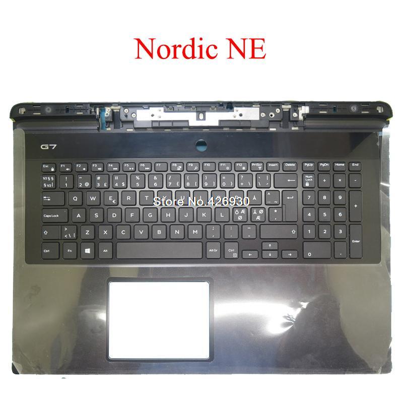 الشمال NE Palmrest لديل G7 17 7790 00YW0N 0YW0N 08NVJK 8NVJK 06WFHN 6WFHN 08WVP3 8WVP3 0X09TP X09TP 0X3N4H لوحة المفاتيح