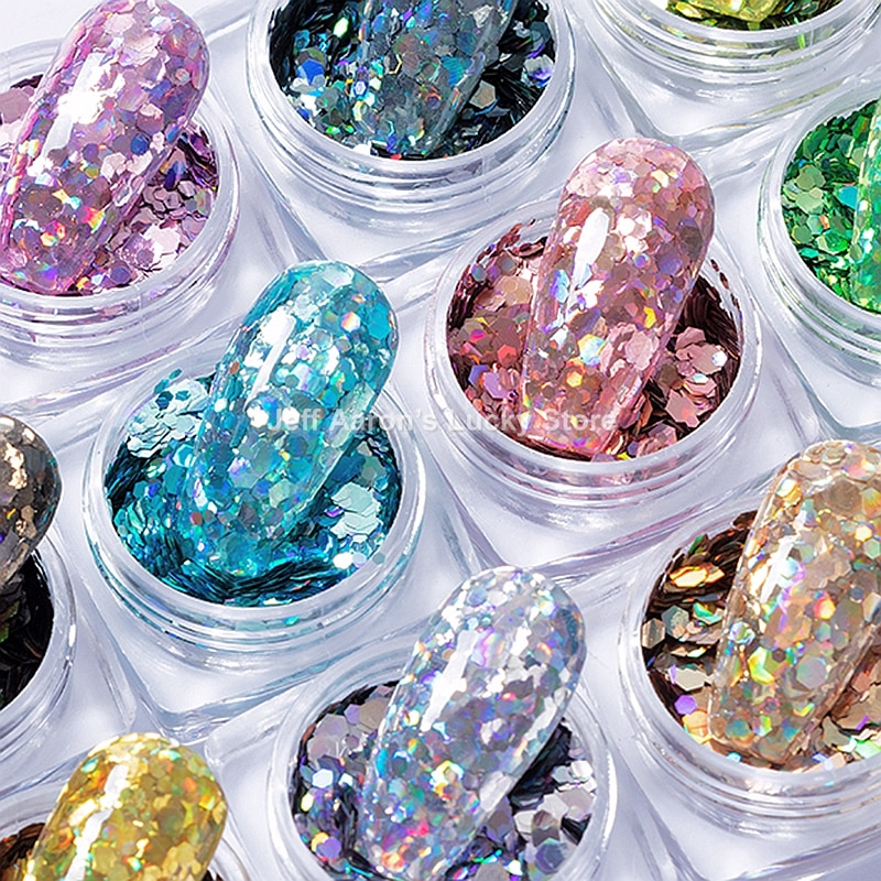 AliExpress - 12 colors hexagon holographic glitter gel nail polish sequins nail art decorations decals  fake nails accessories supplies tool