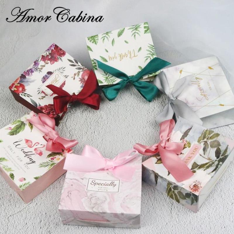 50 Uds. Europeos creativos flamencos mármol bosque hoja verde boda como caja de caramelos Bomboniera fiesta Chocolate caramelo bolsa