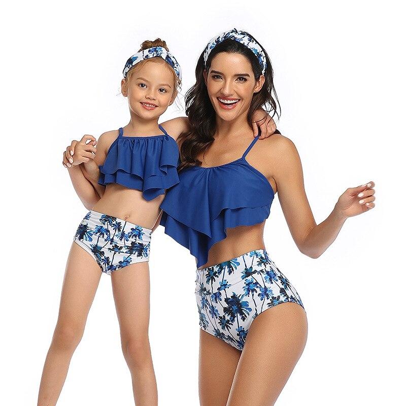 2020 família correspondência roupas maiô, mãe e filha biquínis roupa de banho mulheres crianças menina bebê roupa de praia biquinis
