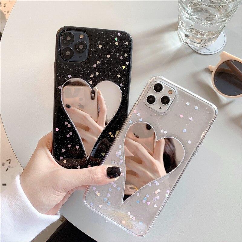 Para Iphone 11, funda de lujo para teléfono con espejo de corazón de amor para Iphone 11 Pro Max, funda trasera con lentejuelas bonitas, fundas blandas transparentes, Capa