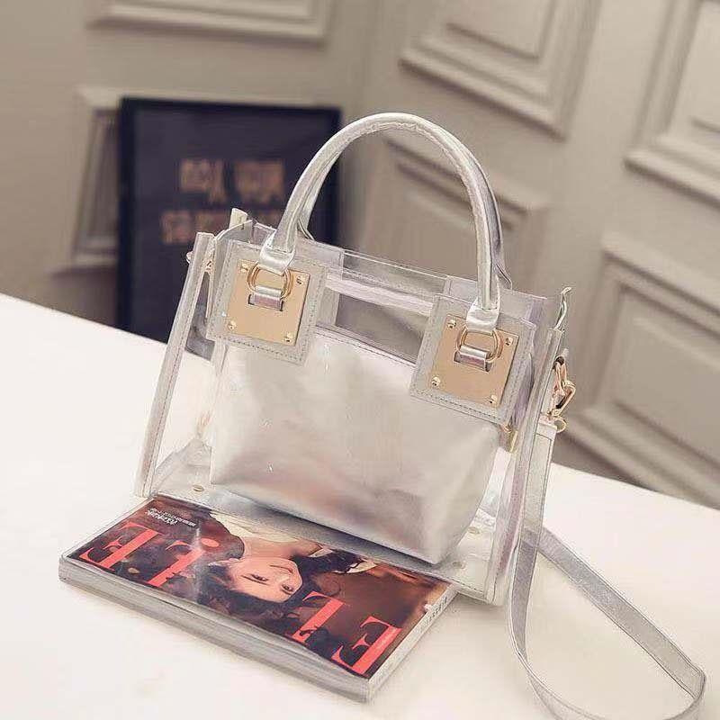 Nuevo bolso de hombro transparente PVC transparente señora Color caramelo jalea de dama bolso billetera Color sólido bolsa principal Femme Handba