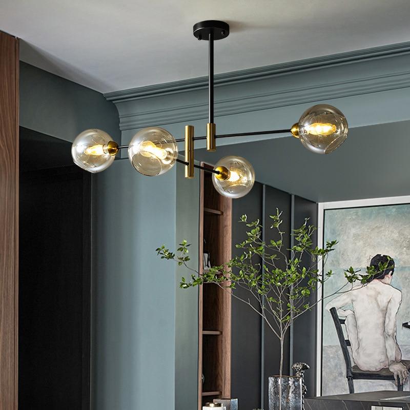 Подвесной светильник в скандинавском стиле, современная простая лампа для гостиной, столовой, спальни, кабинета, лампа с черными золотыми м...