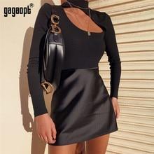 Gagaopt Sexy Open Front Chocker Bodysuits Women Black Longsleeve Autumn Slim Rompers Womens Jumpsuit