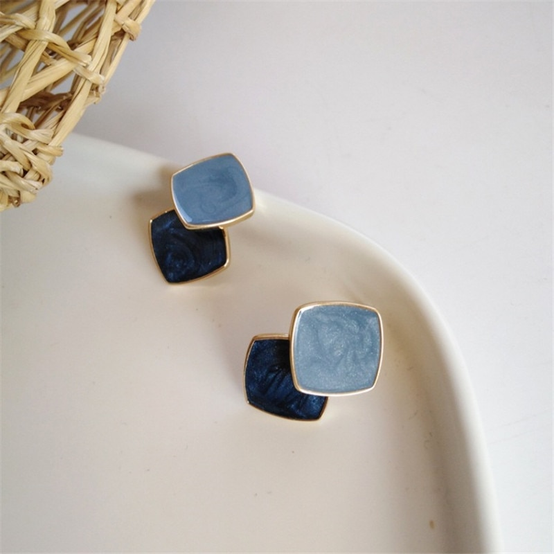 2020 Hit Color Vintage Enamel Square Geometric White Brown Blue Orange Stud Earrings for Women Girl Gift Jewelry Bijoux