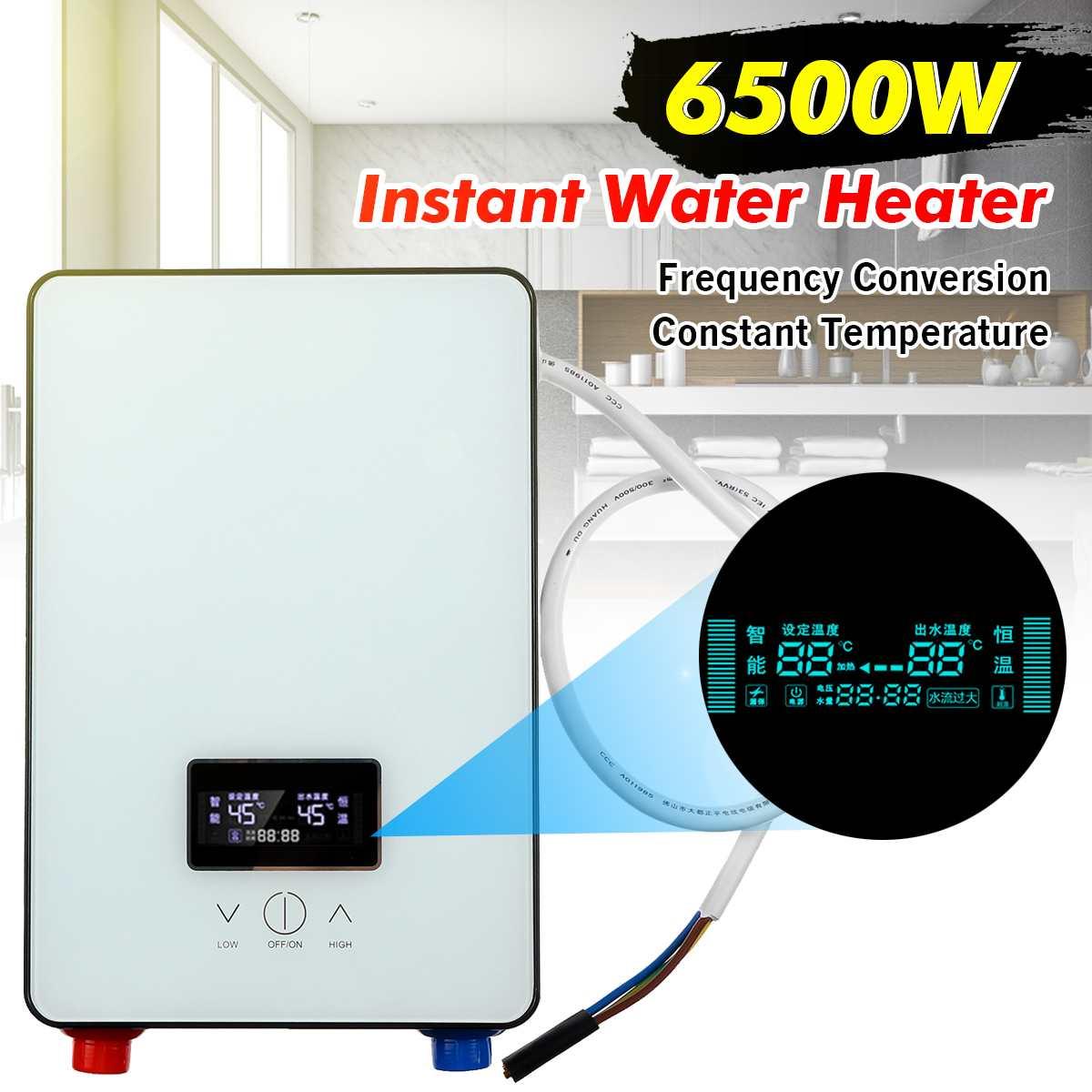 Calentador de agua instantáneo 6500W AC220V, calentador de agua eléctrico sin tanque para baño, pantalla LCD Digital inteligente de autocomprobación blanca
