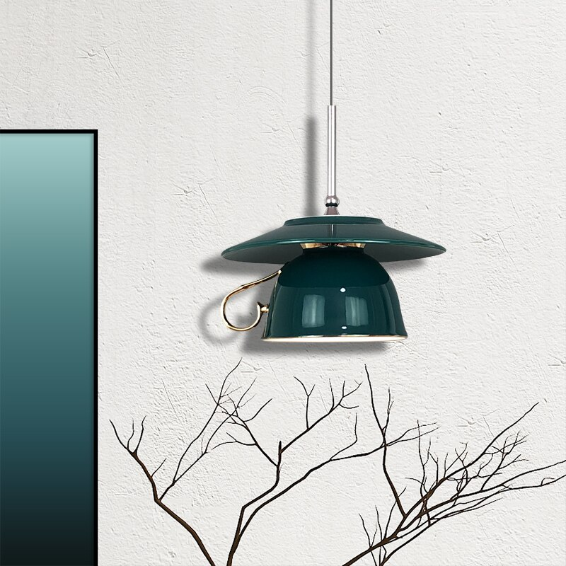 الشمال الأخضر كوب سيراميك قلادة أضواء الحديثة Led القهوة أكواب بيد مصباح معلق المطبخ غرفة الطعام غرفة نوم ضوء بار ديكور فني