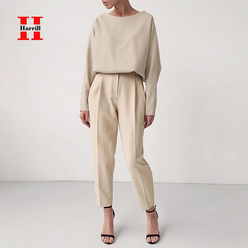 Commuter ropa 2 uds ropa de mujer Casual Color sólido o-Cuello de manga larga blusa Pantalones rectos de cintura alta trajes