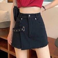 high waist women summer plus size sexy denim shorts skirts chic summer fashion casual buckle patchwork fray shorts streetwear