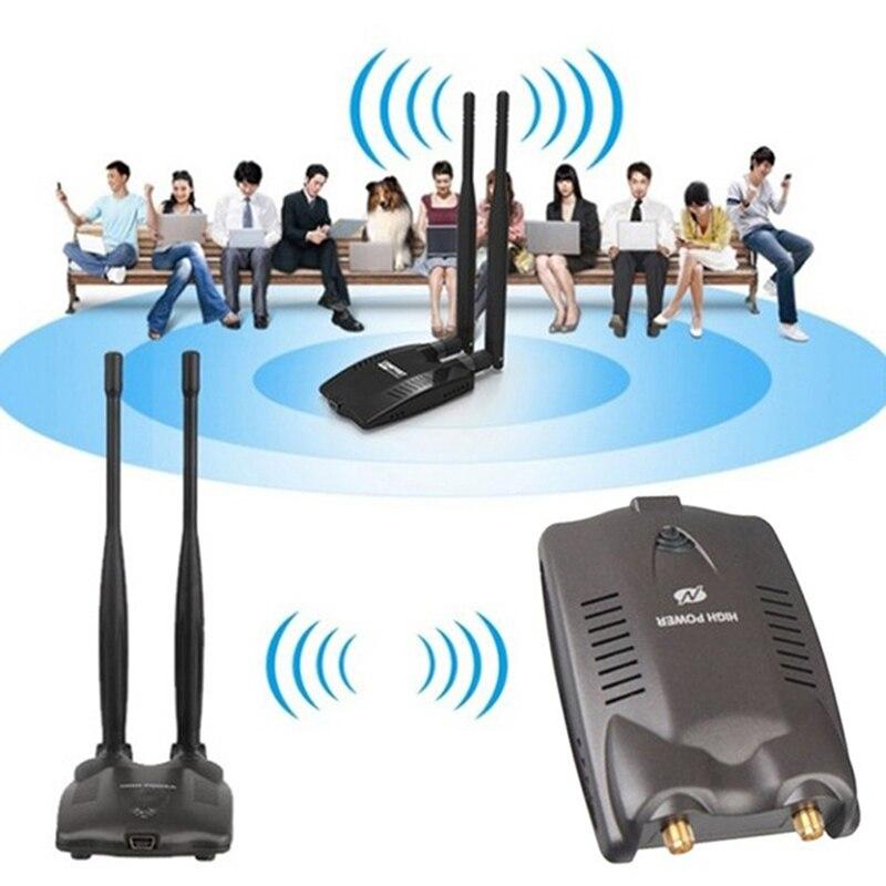 Adaptador WiFi inalámbrico de alta potencia Dual Wifi antena 5dB 150Mbps tarjeta...