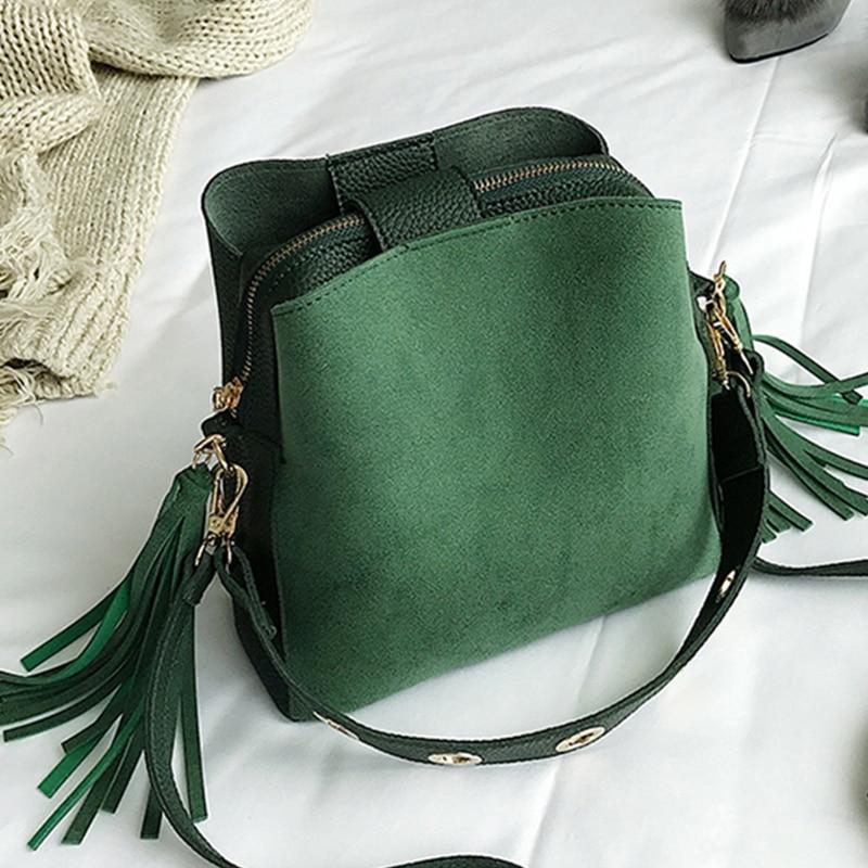2020 New Fashion Scrub Women Bucket Bag Vintage Tassel Messenger Bag High Quality Retro Shoulder Bag