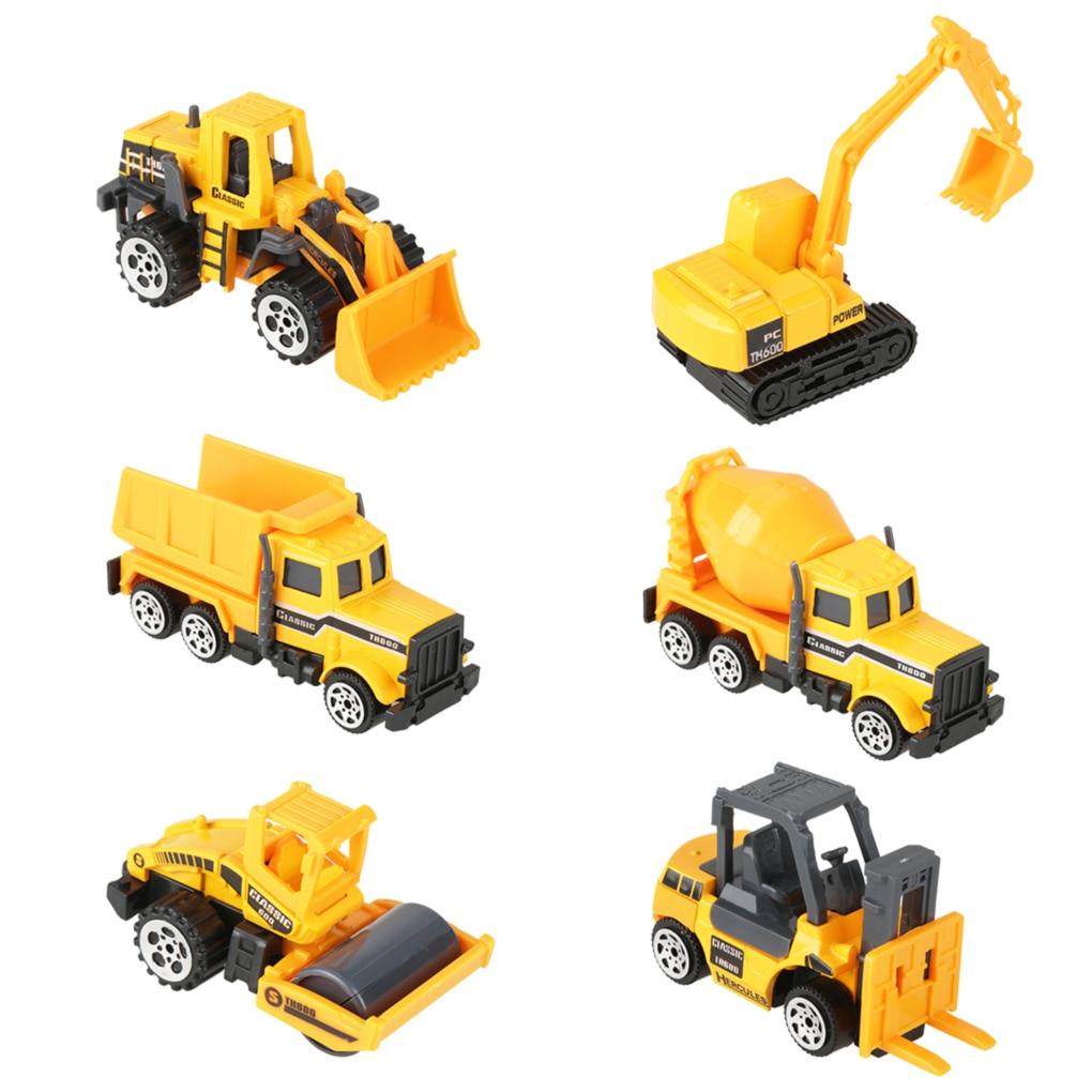 6pcs Mini Diecast Car Model Engineering Toy Vehicles Dump Truck Forklift Excavator Model Car Mini Gift For Kids Boys недорого