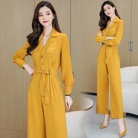chiffon jumpsuits for women 2021 spring autumn fall high waist long sleeve one piece rompers casual ladies wide leg pants suits