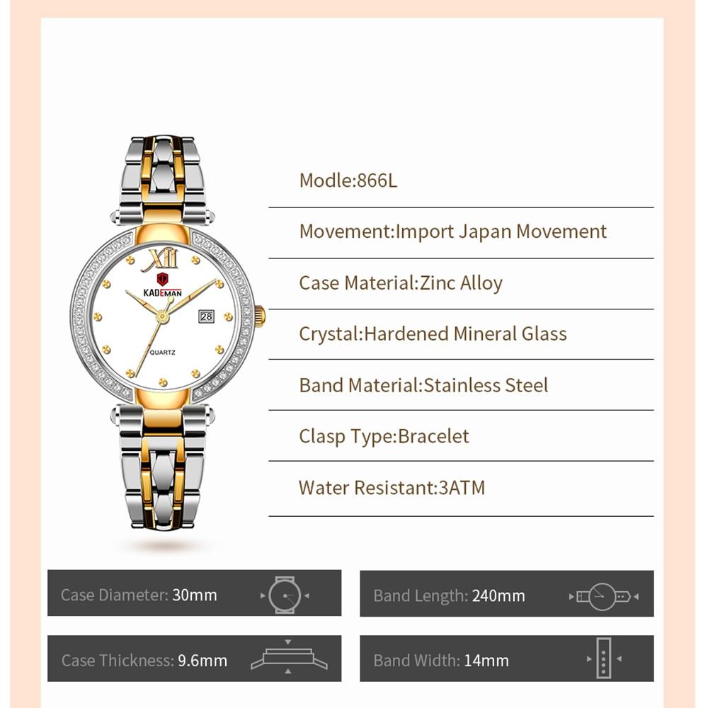 KADEMAN Casual Women Watch Romantic Designer Ladies 30 Meters Waterproof Clock Simple Full Steel Pointer Display Quartz Watches enlarge