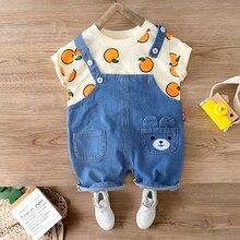 Baby Sommer T Shirt Set Für Junge Mädchen Outfit 1 2 3 4 Jahre Kind Jungen Kleidung Denim Overalls Shirt urlaub Outfit Kleidung Kostüm