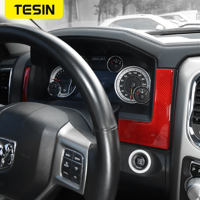 TESIN Interior Accessories For Dodge RAM 1500 Carbon Fiber Car Dashboard Sides Decor Cover Sickers For Dodge RAM 1500 2010-2017 enlarge