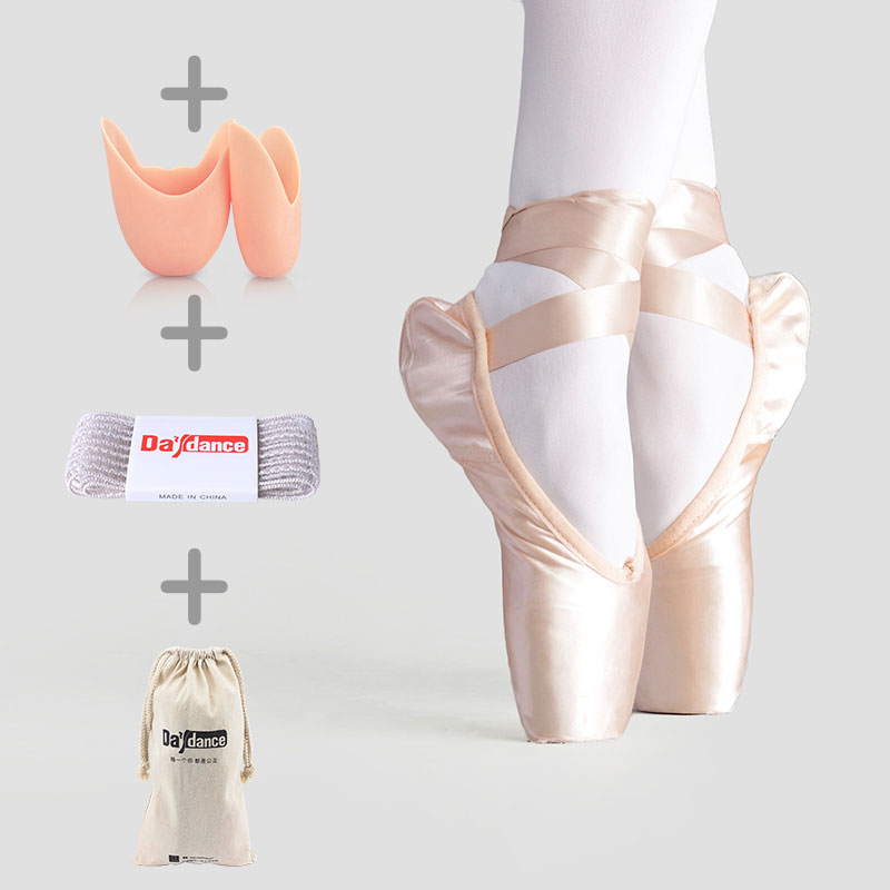 Women Ballet Dance Shoes Child and Adult Ballet Pointe Dance Shoes Professional with Ribbons Shoes S