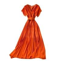 2021 new summer women sexy v neck short sleeve slim long dress fashion solid color chiffon pleated dress send the belt