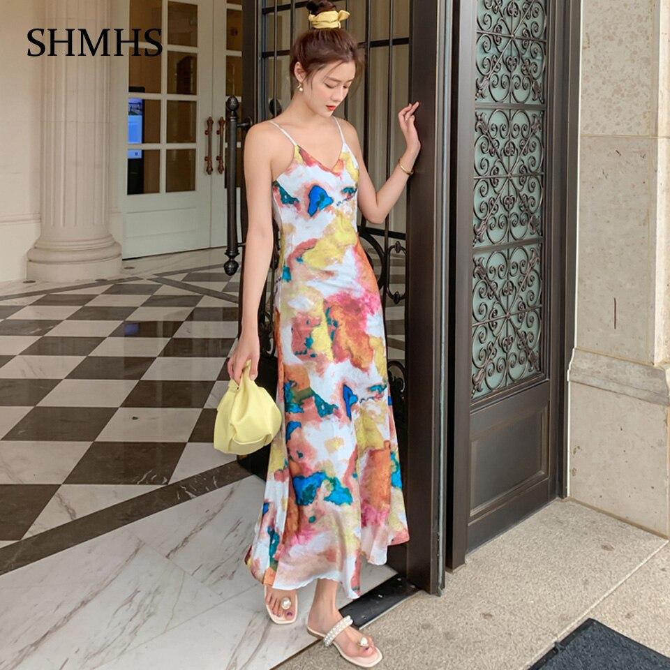 Vestido bohemio Multicolor con estampado Digital de alta tecnología, vestido Sexy de verano 2020 con tirantes finos y cuello en V, vestido de fiesta de vacaciones para mujer