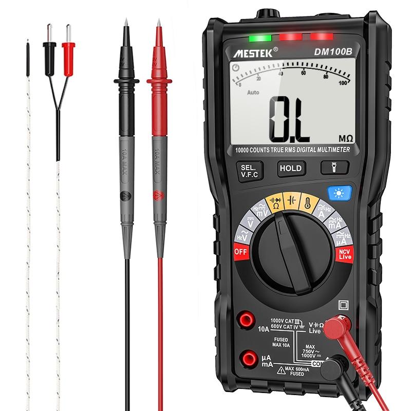 مقياس رقمي متعدد DM100B عالي الدقة 10000 التهم 600 فولت تيار متردد/تيار مستمر أوم هرتز NCV Live C/F مقياس جهد متعدد الميترو