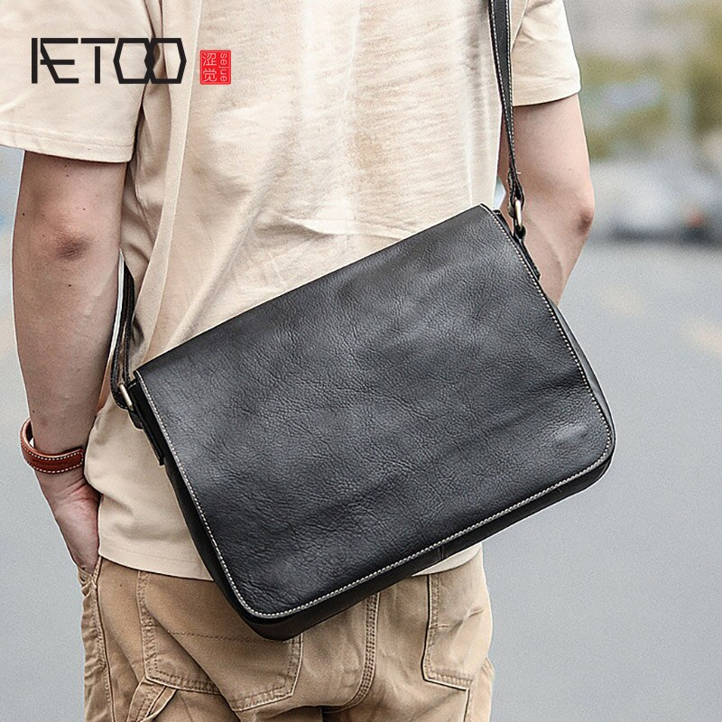 AETOO-حقيبة جلدية للرجال ، حقيبة بسيطة للترفيه ، جلد البقر