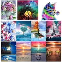 5d diamond painting embroidery flower landscape full round mosaic wall sticker animal cross stitch home decoration painting