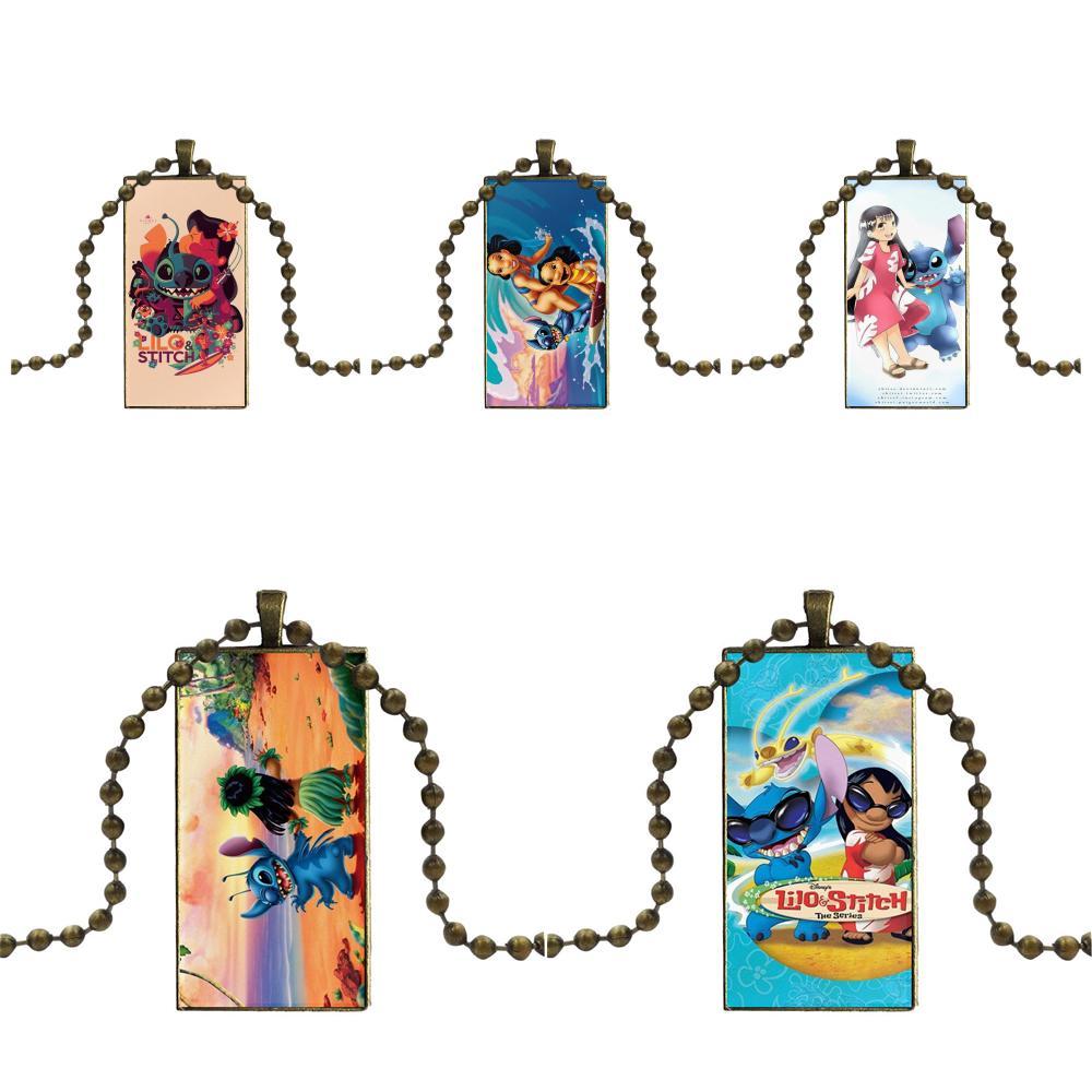 Vintage Jewelry Bronze Color Glass Cabochon Choker Pendant Long Rectangle Necklace For Women Girls Handmade Lilo & Stitch