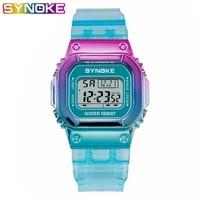 synoke ladies watch led luminous fashion digital women men colorful sports new unisex alarm wristwatches clocks reloj mujer