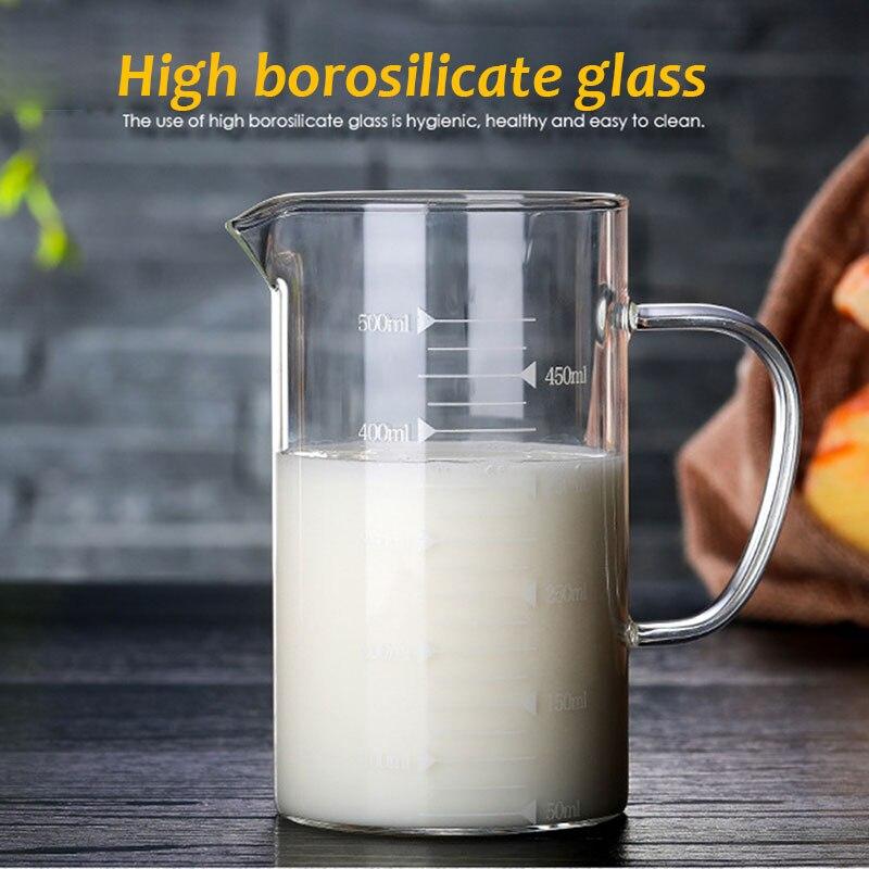 Измерительный кувшин из боросиликатного стекла, инструмент для выпечки напитков, молока, стеклянная чашка, прочный 350 мл/500 мл, для кухни, бара, креативное жидкое пиво