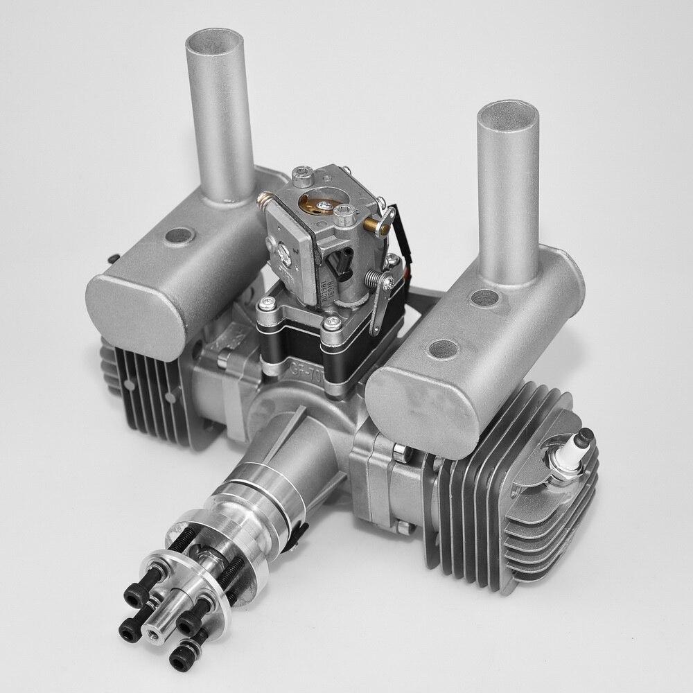 Nuevo VVRC RCGF 70cc cilindro doble gasolina/gasolina motor Dual cilindro con silenciador/Igniton/bujía para RC modelo avión