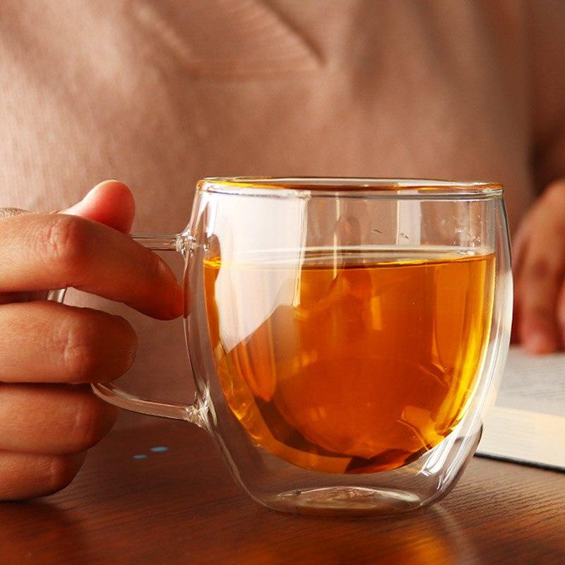 Nouveau 1 pièces 100-400mL Double couche résistant à la chaleur tasse en verre Transparent bureau café thé whisky vin tasse avec poignée Drinkware