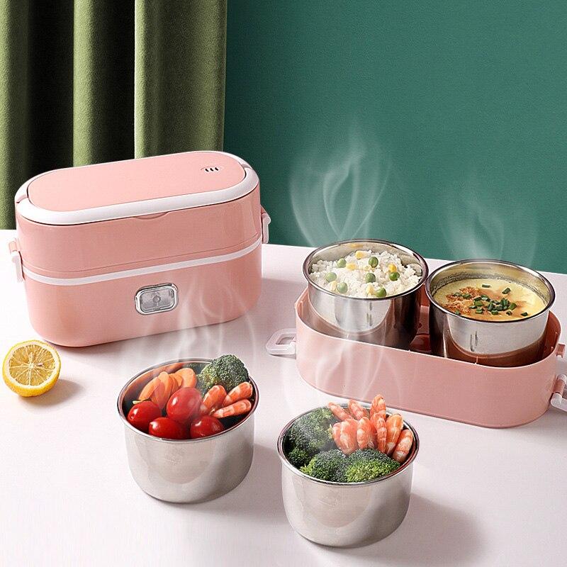 NewEU/UK Plug-جهاز طهي أرز كهربائي صغير ، تسخين حراري ، صندوق غداء كهربائي ، محمول ، باخرة طعام ، حاوية طبخ ، صندوق غداء