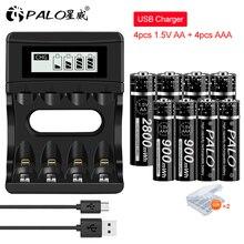 PALO 1,5 V AA литий ионные аккумуляторы + 1,5 v AAA литий ионные аккумуляторы с ЖК дисплеем Smart 1,5 V литиевая батарея зарядное устройство