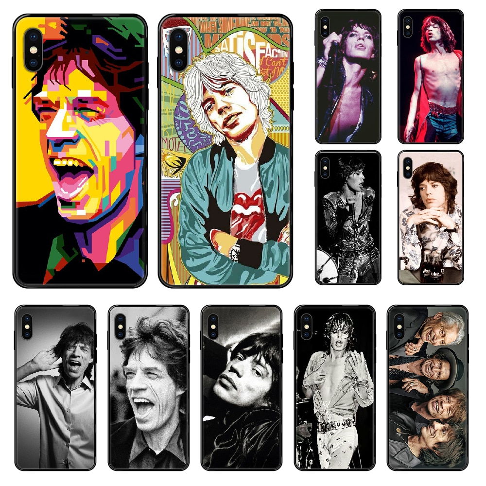 Mick Jagger De Rolling Stones Telefoon Case Voor Iphone 4 4S 5 5S Se 5C 6 6S 7 8 Plus X Xs Xr 11 Pro Max 2020 Zwart Trend Cover