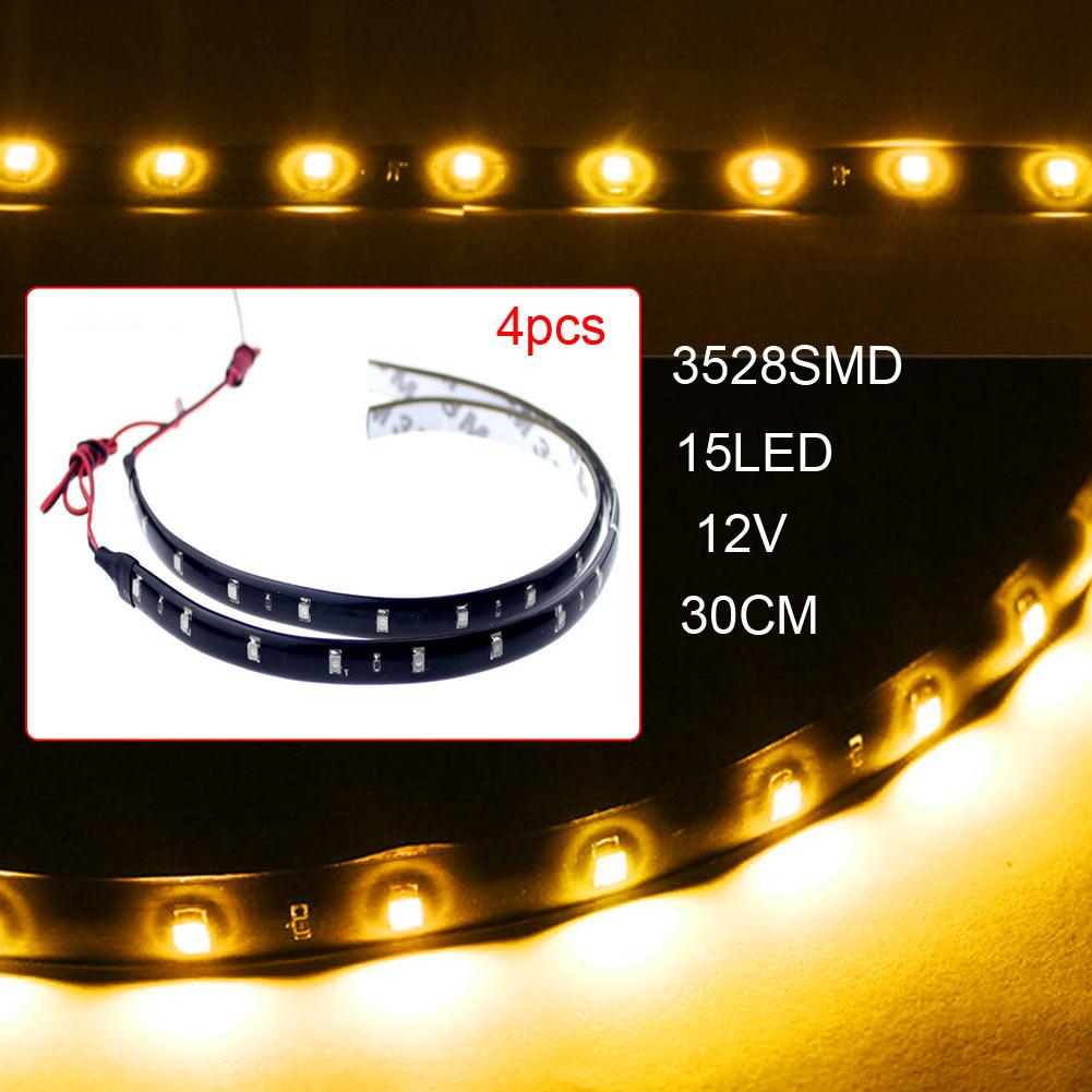 12В Автомобильный светодиодный дневные ходовые огни 15SMD DRL гибкий автомобильный светодиодный фонарь Водонепроницаемый декоративный светод...