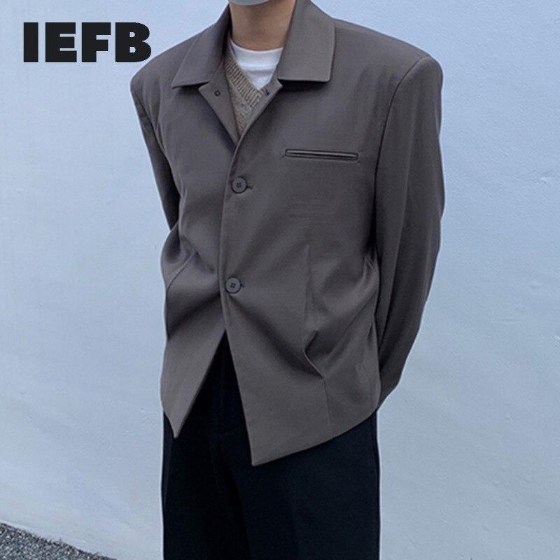 IEFB الرجال 2021 الخريف جديد التلبيب الستر الكورية نمط Ins اتجاهات عادية رائعة بلون عادية معطف قصير UnisexY8603